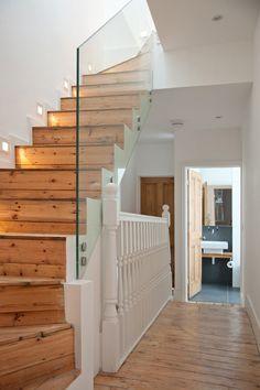 Loft extension glass staircase balustrade, but the floor provides continuity Loft Conversion Stairs, Bungalow Conversion, Attic Conversion, Loft Conversions, Loft Stairs, House Stairs, Basement Stairs, Loft Room, Bedroom Loft