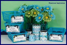 Pretty Paisley products are made with the perfect combination of soothing colors to create a beautifully coordinated classroom theme! These are labels are a perfect fit for book baskets! $ classroominspirations.com