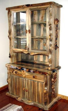 Blue Pine Hutch with Lodge Pole Burl Accents. Looks like a husband and wife team… - wood working Pine Wood Furniture, Rustic Log Furniture, Cabin Furniture, Unique Furniture, Pallet Furniture, Furniture Decor, Furniture Design, Hutch Furniture, Cheap Furniture