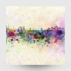 Budapest skyline in watercolor Poster