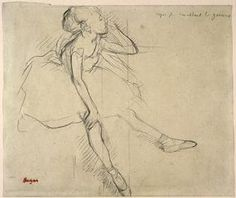 Edgar Degas (French, 1834-1917), Ballet Girl in Repose, about 1880-82, charcoal on light tan paper