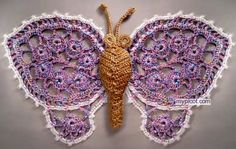 Several different Irish crochet lace butterfly patterns