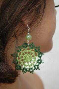 Crochet earring jewelry - Large crochet earring - Crochet earring - Green earrings - Textile Jewelry - Round earrings