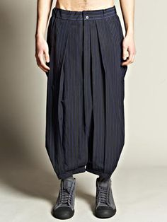 Yohji Yamamoto Pour Homme Men's Cropped Drop Crotch Trousers