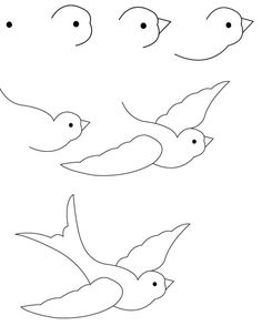 New drawing sketches easy simple artists ideas Cute Easy Drawings, Art Drawings For Kids, Bird Drawings, Art Drawings Sketches, Animal Drawings, Drawing Techniques, Drawing Tutorials, Drawing Ideas, Drawing Art