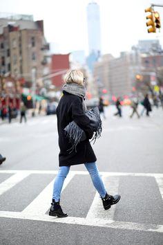 Designers Remix coat // Joe Fresh scarf  (similar here and here) // Zara jeans (similar here) // Valentino fringe bag (via Departement Feminin) // Balenciaga boots // Celine sunglasses.