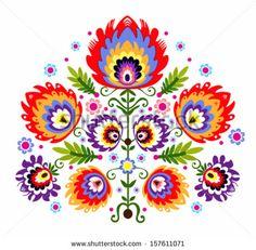 Folk Embroidery - Flowers. Polish traditional folk pattern.