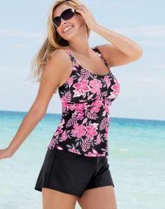 Sun Fun Two-Piece Tankini with Swim Shorts