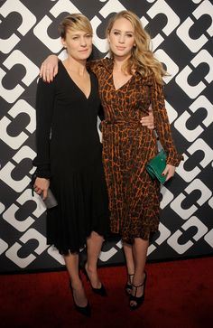 Newly engaged Robin Wright attended with daughter Dylan Penn. Robin went simple, in an LBD, while Dylan decided to wear something vintage. Party- Diane von Furstenberg: her iconic wrap dress is turning 40