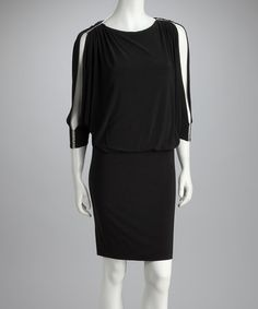 Take a look at this R Richards Black Rhinestone Blouson Dress by R Richards on #zulily today!