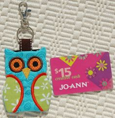 Owl Key Chain Card Holder Machine Embroidery by EmbroideryGarden, $6.00