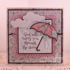 Hope in the Storm: Shower of Blessings, ODBD Custom Dies - Layered Lacey Square Dies, Beautiful Borders Die, Umbrellas Die, Clouds & Raindrops Dies Cute Cards, Diy Cards, Umbrella Cards, Umbrella Man, Breast Cancer Cards, Christian Cards, Scripture Cards, Get Well Cards, Sympathy Cards