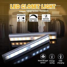 LED Closet Light, Stick-on Anywhere Motion Sensor & Light Sensor Activated Night Light Wardrobe Lighting, Closet Lighting, Motion Sensor Closet Light, Light Sensor, Storm Cellar, Led Closet Light, Lumiere Led, Tool Sheds, Cabinet Lighting