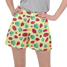 Watermelons, fruits and ice cream, pastel colors, at yellow Ripstop Shorts Watermelon Fruit, Yellow Print, Pastel Colors, Ice Cream, Shorts, Womens Fashion, Pants, Style, No Churn Ice Cream
