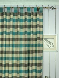 Extra Wide Hudson Bold-scale Check Tab Top Curtains 100 - 120 Inch Curtain Panel | Cheery Curtains: Ready Made and Custom Made Curtains For Less