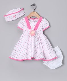 Take a look at this Pink Polka Dot Dress Set - Infant by Special Occasions: Kids' Apparel on #zulily today!