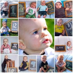 Monthly pictures of the first year with chalk board each month.