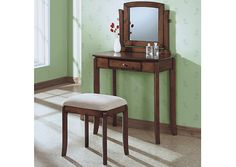 Monarch 1583 - Walnut Solid-Top 2 Pieces Vanity Set/ Beige Chenille | Sale Price: $242.00