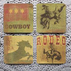 Saddle Up Cowboy  Wild West Mousepad Coaster Set coasters by Polkadotdog