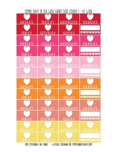 Free Printable Simple Days of the Week Heart Date Covers for the Vertical Erin Condren, Recollections Creative Year, & Classic Happy Planner Page 1 of 6 from myplannerenvy.com. Also available with a Circle instead of a Heart.