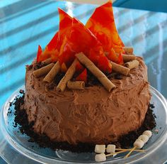 Here Is Brian Jr S Campfire Birthday Cake He Loves Camping Fires And Roasting Marshmallows I Added Mallows To Mine When Saw The Cam