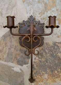 Spanish Colonial-style iron sconce--would be great on stone fireplace Spanish Colonial Homes, Spanish Style Homes, Spanish Revival, Spanish House, Hacienda Homes, Hacienda Style, Mexican Hacienda, Chandeliers, Spanish Style Decor