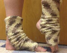 Yoga Socks in ORGANIC cotton desert camo ecru brown -- for Yoga, Dance, Pilates