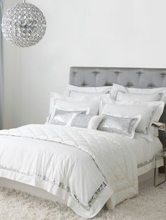 Love crisp white bedding and this Kylie at home white sequins is one of my faves!