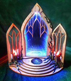 Magic Portal Bookend Infinite Mirror, Portal Art, 9 Volt Battery, Star Magic, Mirror Effect, Mirror Painting, Wooden Plates, White Lead, Cthulhu