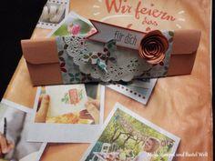 Stampin Up, Verpackung, Tasche, Box, Desigernpapier Frisch und farbenfroh, Kartenset für Goldstücke, Spiralblume