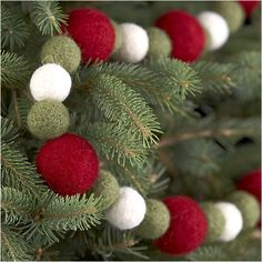 Felt Ball Garland in Christmas Decorating | Crate and Barrel