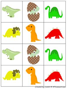 Free for kids: Dinosaur Matching/pairs/concentration/memory game cards