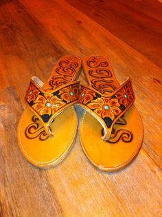 Custom tooled leather sandals