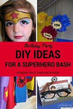 Best Ideas For Throwing The Ultimate Superhero Party Avenger Party, Girl Superhero Party, Girls Party, Wonder Woman Birthday, Wonder Woman Party, Anniversaire Wonder Woman, 4th Birthday Parties, 5th Birthday, Super Hero Birthday
