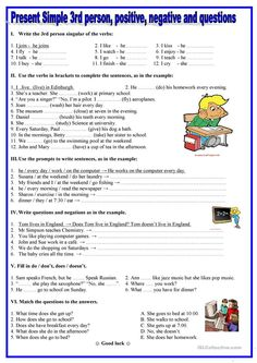 Present simple- 3rd person,positive, negative,questions worksheet - Free ESL printable worksheets made by teachers