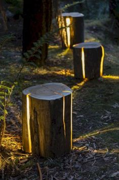 55 Easy and Creative DIY Outdoor Lighting Ideas – Landscape lighting design – - All About Decoration Reclaimed Wood Projects, Salvaged Wood, Log Wood Projects, Salvaged Decor, Lathe Projects, Backyard Lighting, Outdoor Lighting, Modern Lighting, Outdoor Lamps