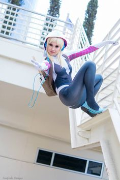 Hendo Art (USA) as Spider-Gwen. Photos I and II by: Craig's Cosplay Corral Photo III by: Estrada Photos IV and V by: RickBas Art/Photography Photos VI and VII by: Surfside Images