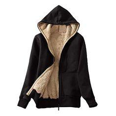 Women's Casual Winter Warm Sherpa Lined Zip Up Hooded Sweatshirt Jacket Coat Hoodies Woman Clothes Sudaderas Para Mujer Bluzy Coats For Women, Jackets For Women, Clothes For Women, Mantel Elegant, Outerwear Women, Hooded Jacket, Hooded Coats, Hooded Parka, Winter