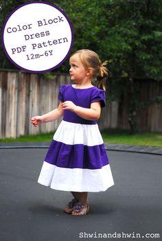 The Color Block Dress {Free PDF Pattern 12m-6Y} - Shwin&Shwin