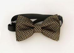 Metallic Lace Mesh Bow tie  Metallic Black and by bananaribbon