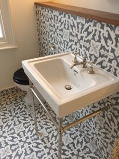 Bosque Encaustic Cement Tile Splashback wall.   Victorian Style Sink Splashback, Bespoke Design, Terrazzo, Powder Room, Sink, Cement Tiles, Interior Ideas, Bathroom Ideas, Wall
