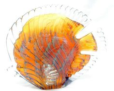 New Hand Blown Glass Amber and Cream Butterfly Fish Figurine