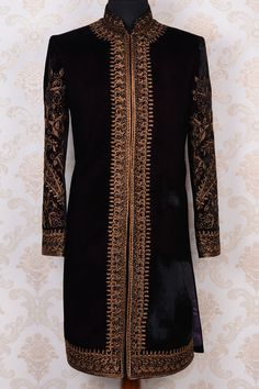 Black & gold pure velvet modish indo western sherwani -IW365 - IndoWestern Sherwani/Achkans - Sherwani - Men's Wear