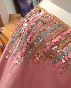 30 Ideas For Embroidery Ribbon Dress Beads Kurti Embroidery Design, Tambour Embroidery, Bead Embroidery Patterns, Hand Work Embroidery, Embroidery On Clothes, Embroidery Sampler, Couture Embroidery, Simple Embroidery, Bead Embroidery Jewelry