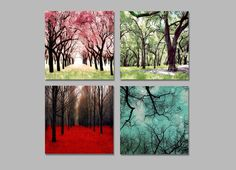 4 Seasons Wall Art Print Set of 4 Seasons Tree by Raceytay on Etsy