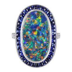Lightning Ridge Black Opal and Sapphire Ring - Shreve Crump & Low