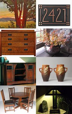 From the Hands of Thankful Craftsman by Debra L. Boudreau on Etsy--Pinned with… Craftsman Style Decor, Craftsman Tile, Craftsman Homes, Craftsman Bungalows, Mission Style Decorating, Mission Style Homes, Mission Furniture, Furniture Decor, Arts And Crafts Interiors