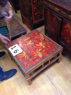 Hand painted pine tea table from Tibet, China