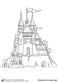 Castle Coloring Pages, Cartoon Disney Palace Drawing
