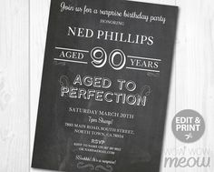Ages to Perfection Surprise 90th Birthday by wowwowmeow on Etsy
